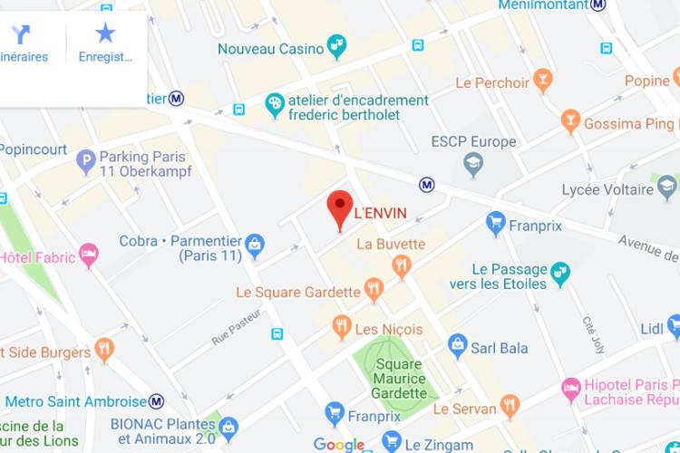plan carte L'Envin a déménagé dans paris 11 localisation