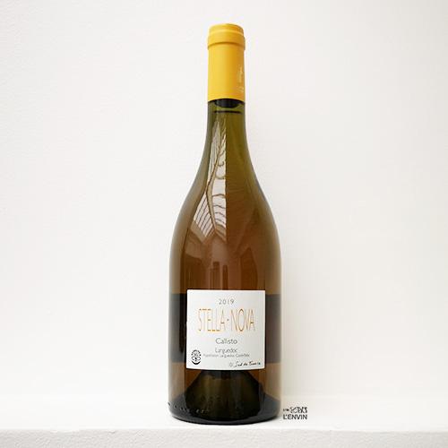 Bouteille de vin bio et nature orange callisto 2019, du vigneron philippe richy du domaine en biodynamie stella nova, distribué à paris par l'envin lenvin agent ile de france loiret export