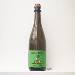 Bouteille de pet nat blanc de chenin 2017 du domaine huit launay en loire représenté par l'envin agent de vin bio et nature sur paris ile de france et loiret vin bio et nature